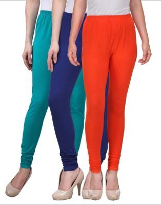 Desi Duos Women's Blue, Light Green, Orange Leggings