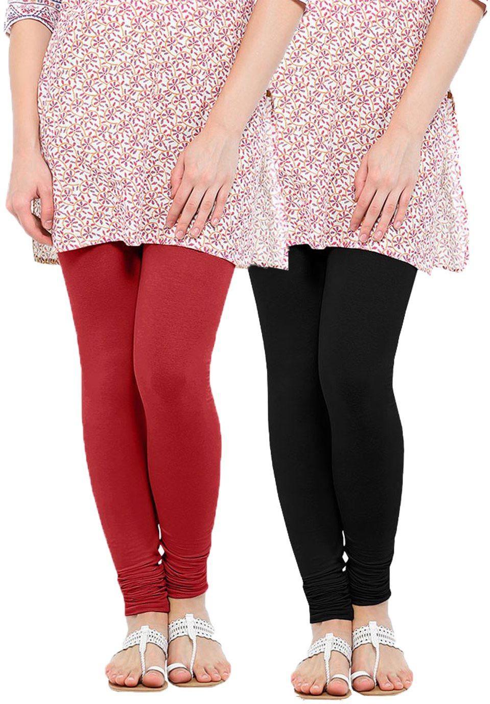 Linking Threads Womens Red, Black Leggings(Pack of 2)