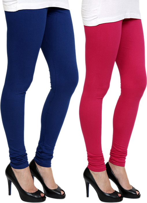 Pannkh Womens Blue, Pink Leggings(Pack of 2)