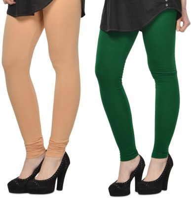 SareeGalaxy Women's Beige, Dark Green Leggings