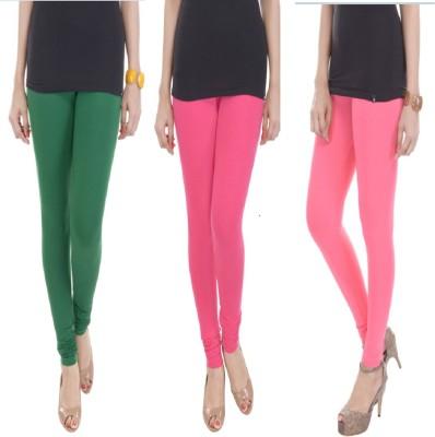 TEXVILLA Women's Dark Green, Pink, Pink Leggings