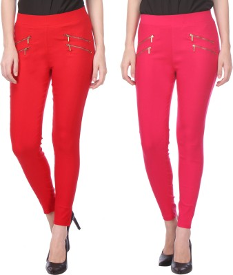 Flying Duck Women's Red, Pink Jeggings