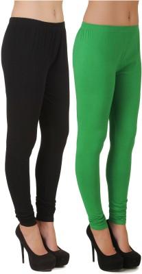 Stylishbae Women's Black, Light Green Leggings