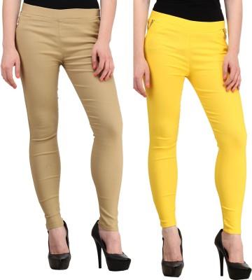 Jainish Women's Beige, Yellow Jeggings