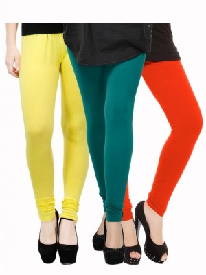 Kjaggs Women's Yellow, Green, Orange Leggings(Pack of 3) at flipkart