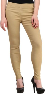Ansh Fashion Wear Women's Beige Jeggings