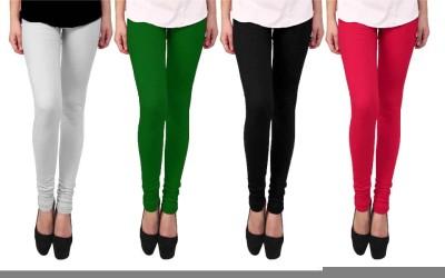 Escocer Women's White, Black, Green, Pink Leggings
