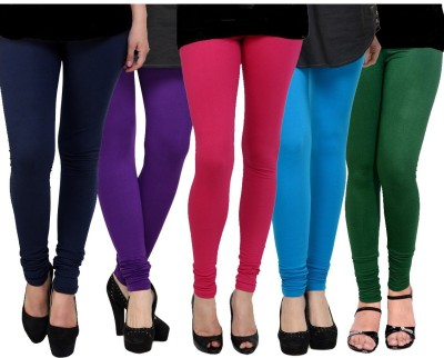 Kjaggs Women's Purple, Pink, Blue, Blue, Dark Green Leggings(Pack of 5) at flipkart