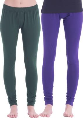 Spictex Girl's Purple, Dark Green Leggings