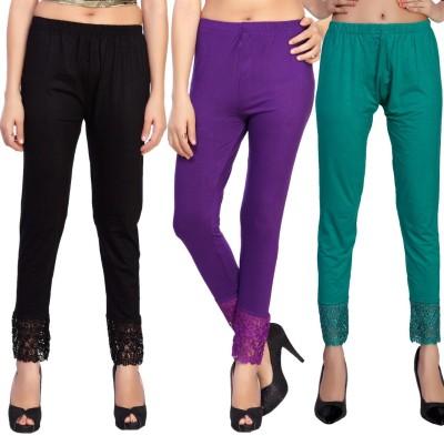 Comix Women's Black, Purple, Green Leggings