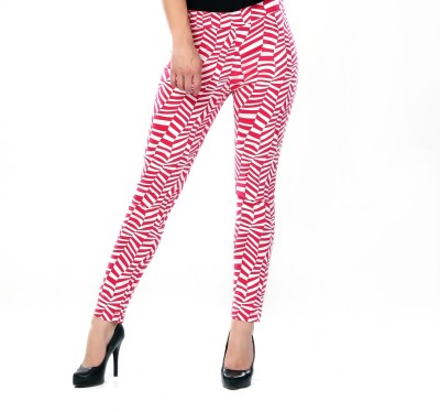 Glam & Luxe Women's Red, White Jeggings