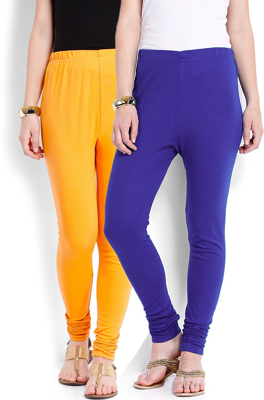 Ten on Ten Womens Yellow, Blue Leggings(Pack of 2)