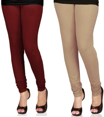 SareeGalaxy Women's Maroon, Beige Leggings