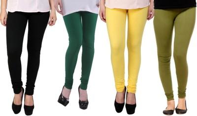 Dharamanjali Women's Black, Green, Yellow, Dark Green Leggings