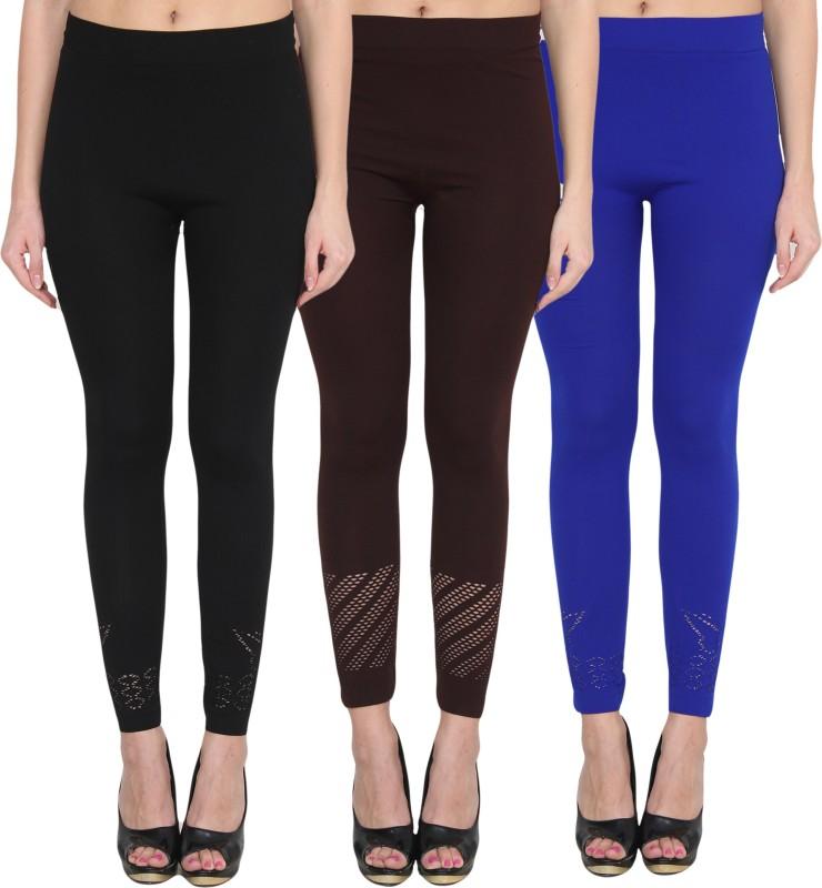 NumBrave Women's Black, Brown, Blue Leggings(Pack of 3)