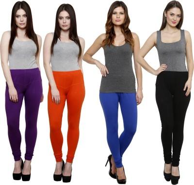 Pistaa Women's Purple, Orange, Blue, Black Leggings