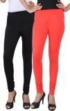 Fascino Women's Black, Red Leggings (Pac...