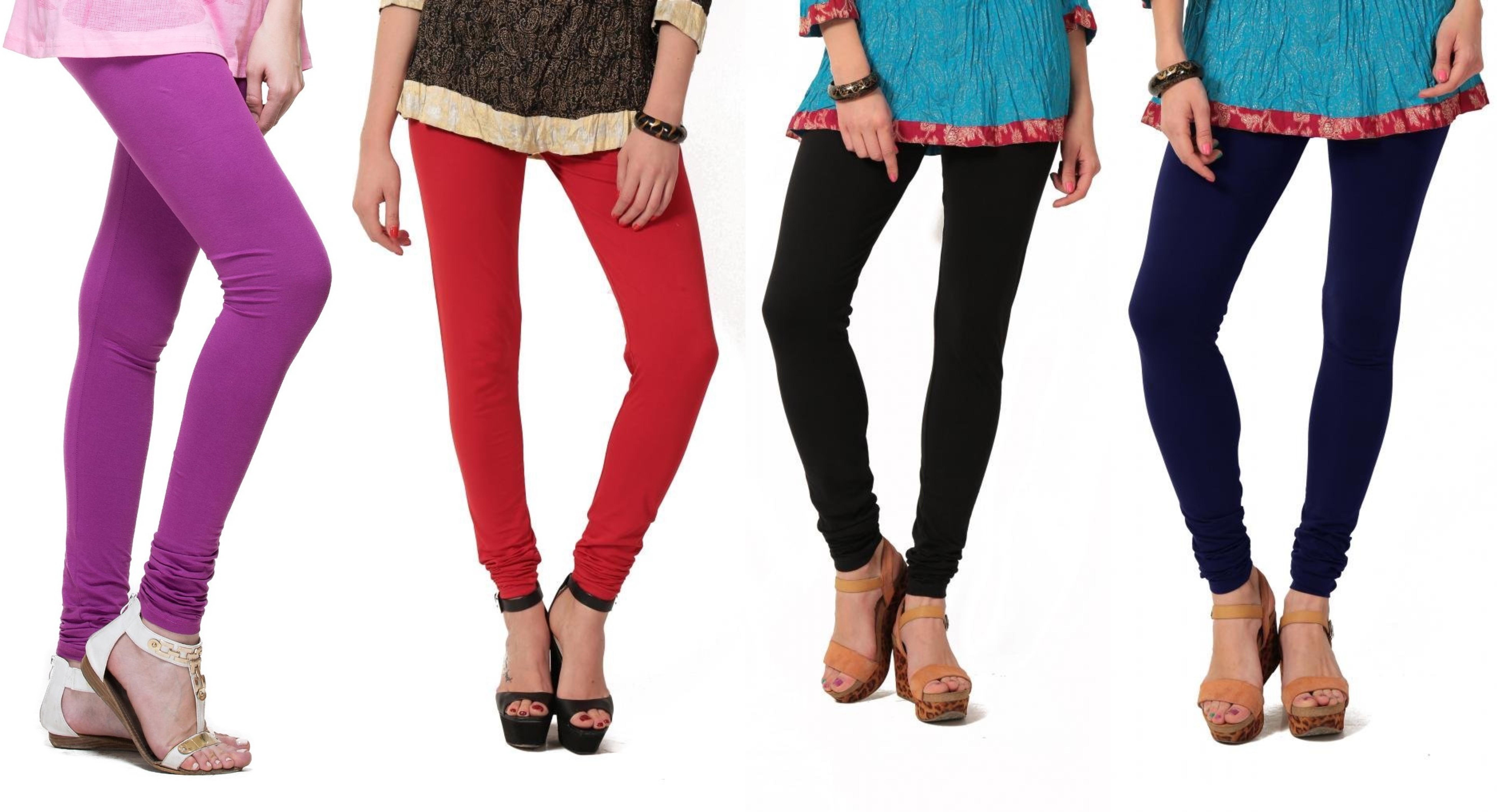 Angel Soft Womens Purple, Red, Black, Blue Leggings(Pack of 4)