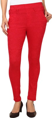 Purple Feather Women's Red Jeggings