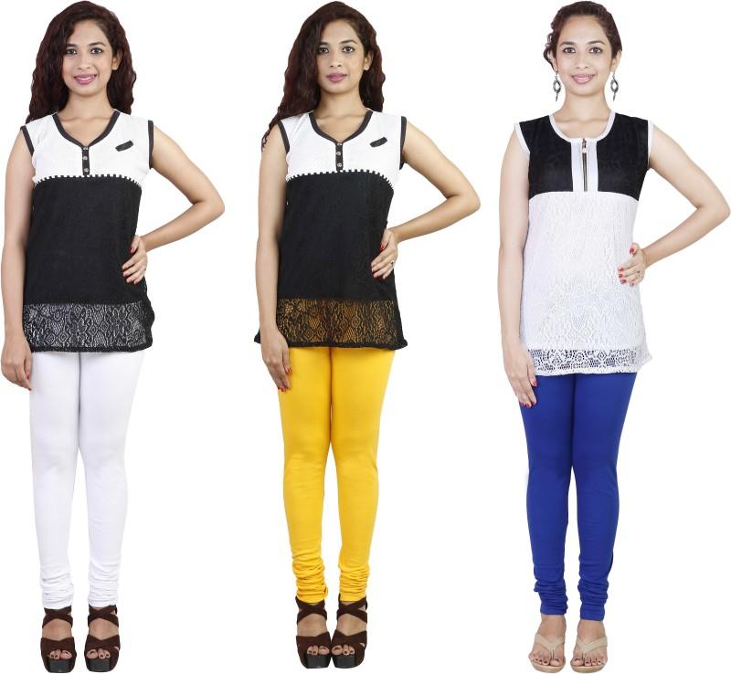 Rann Women's White, Blue, Yellow Leggings(Pack of 3)