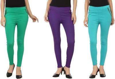 Lambency Women's Purple, Green, Blue Jeggings