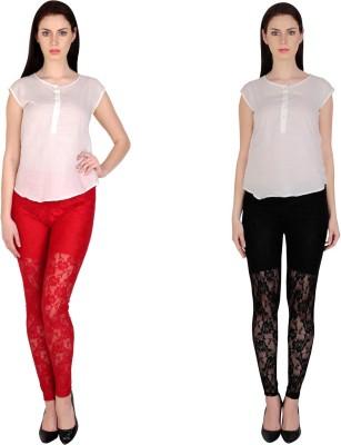 Simrit Women's Red, Black Leggings