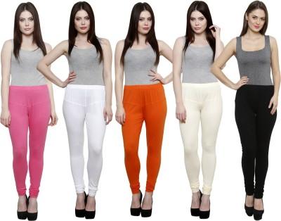 Pistaa Women's Pink, White, Orange, White, Black Leggings
