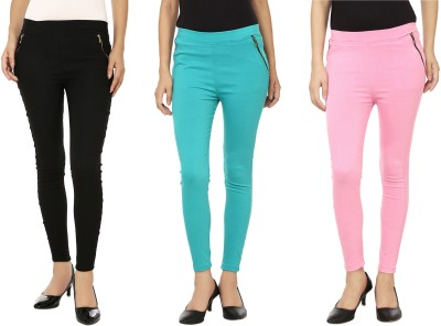Emblazon Women's Pink, Blue, Black Jeggings