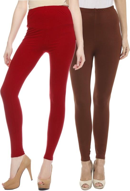 Sakhi Sang Women's Red, Brown Leggings(Pack of 2)