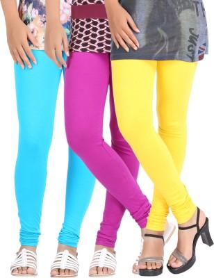 Be-Style Women,s Light Blue, Yellow, Purple Leggings