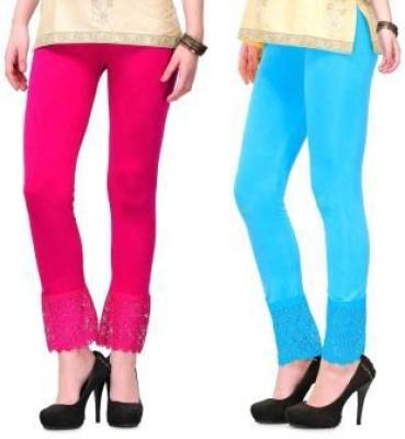 Fashion Arcade Women's Pink, Light Blue Leggings