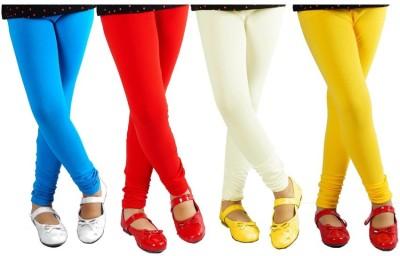 shikha Girl's Blue, Red, White, Yellow Leggings