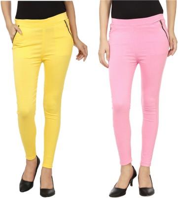Lambency Women's Yellow, Pink Jeggings