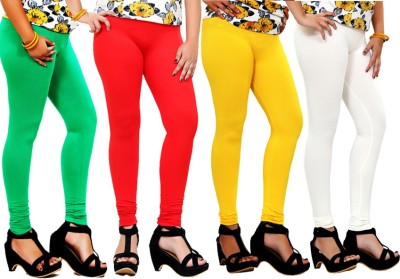 By The Way Women's Green, Red, Yellow, White Leggings