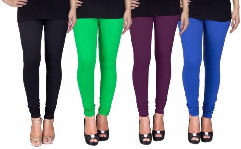 C&S Shopping Gallery Women's Black, Green, Purple, Blue Leggings(Pack of 4)