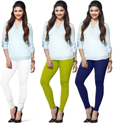 Roshni Creations Women's White, Green, Dark Blue Leggings