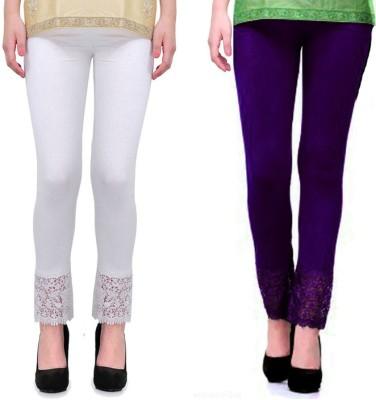 Fashion Arcade Women's White, Purple Leggings