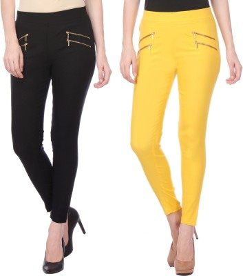 Flying Duck Women's Black, Yellow Jeggings