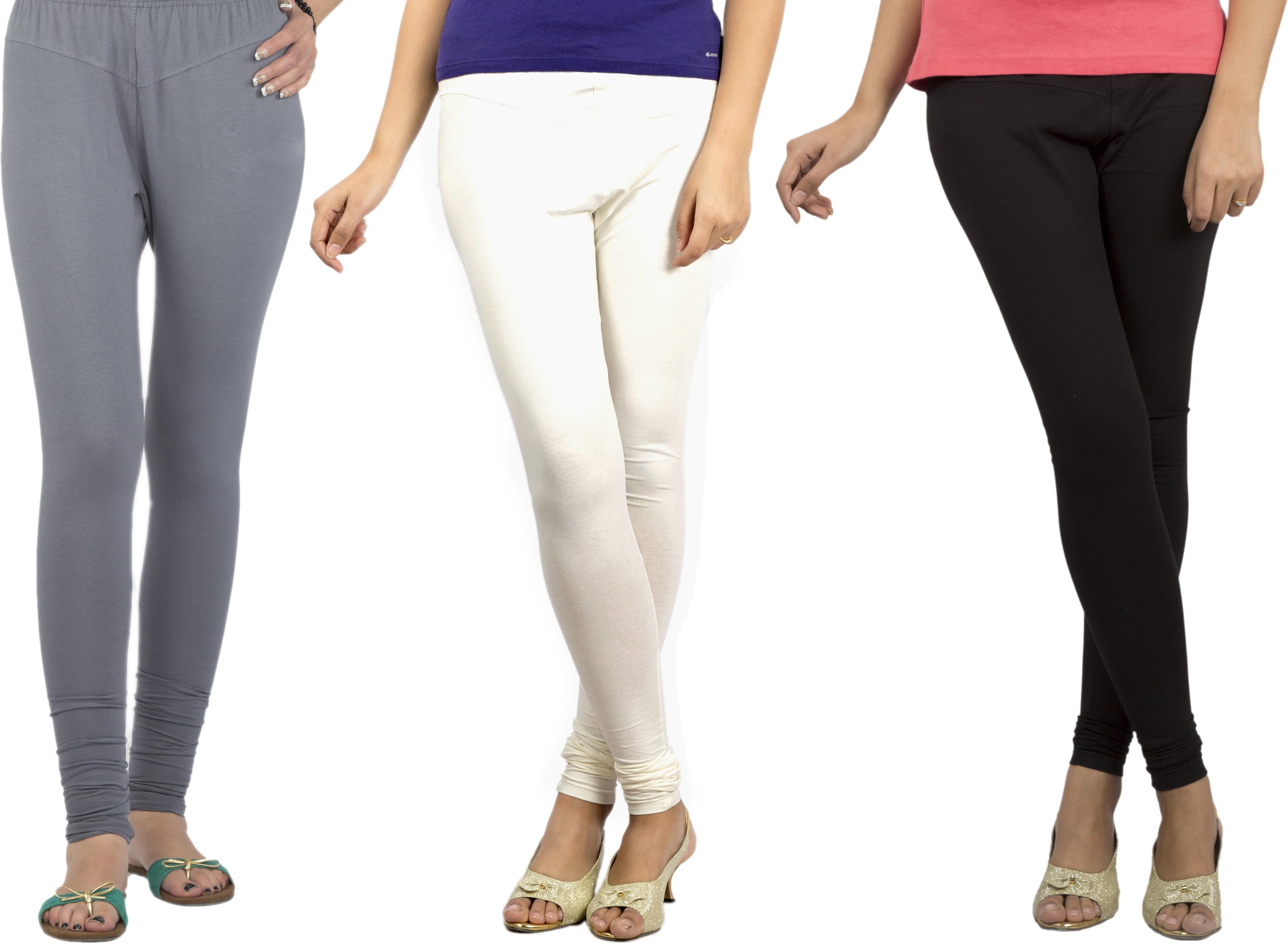 Jublee Womens Grey, White, Black Leggings(Pack of 3)