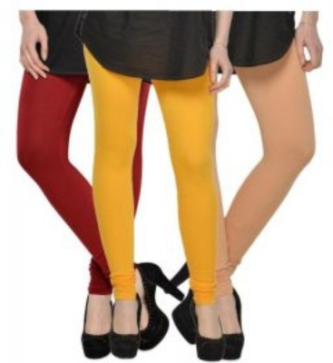 JUST CLIKK Women's Maroon, Yellow, Gold Leggings