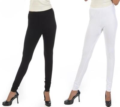 Crezyonline Women's White, Black Leggings