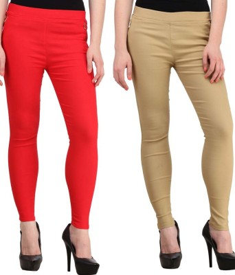 Magrace Women's Beige, Red Jeggings