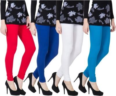 VERMELLO Women's Red, Dark Blue, White, Blue Leggings