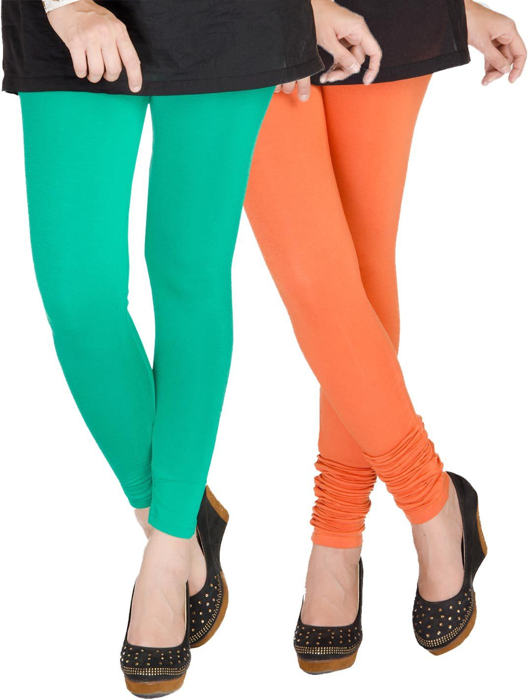 Medoo Womens Green, Orange Leggings(Pack of 2)