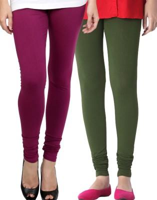Zavlin Women's Purple, Dark Green Leggings