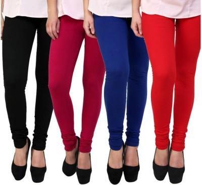 BuyNewTrend Women's Black, Maroon, Blue, Red Leggings(Pack of 4) at flipkart