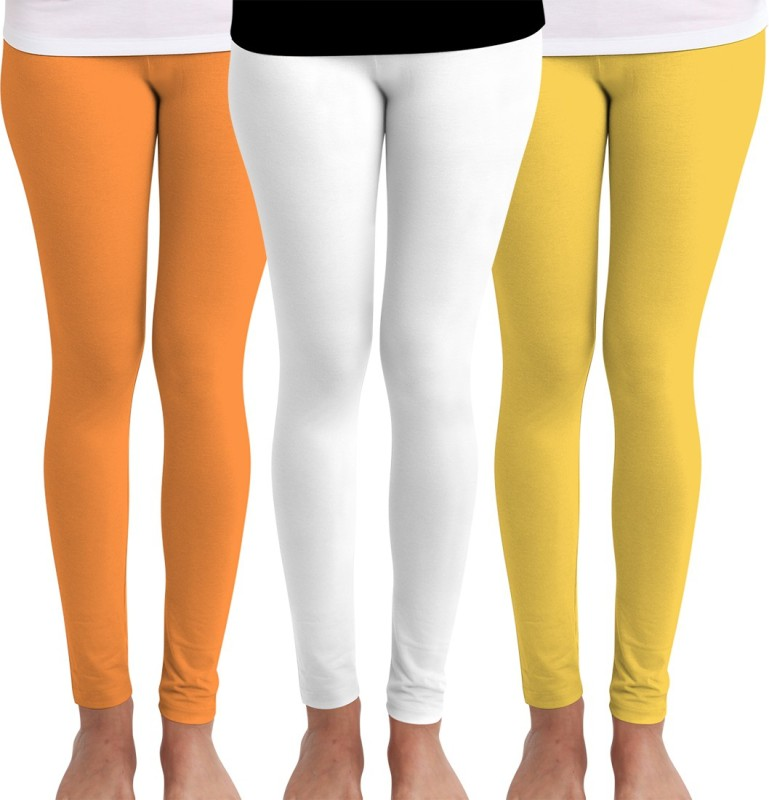 Huetrap Women's Orange, White, Yellow Leggings(Pack of 3)