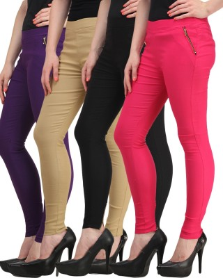 Jainish Women's Black, Beige, Pink, Purple Jeggings