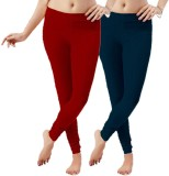 LGRL Women's Maroon Leggings (Pack of 2)