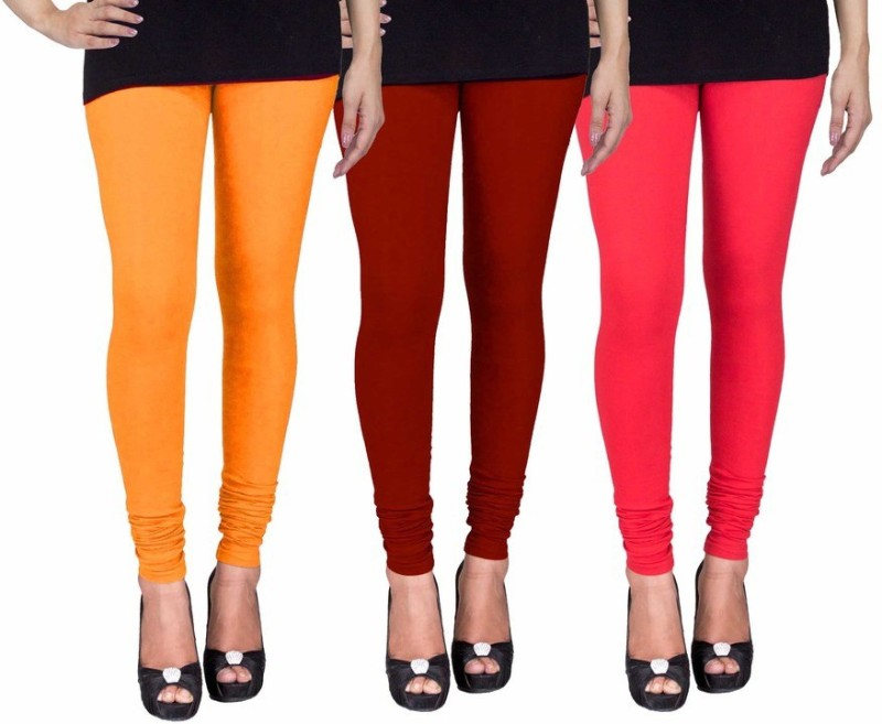 C&S Shopping Gallery Women's Yellow, Maroon, Red Leggings(Pack of 3)